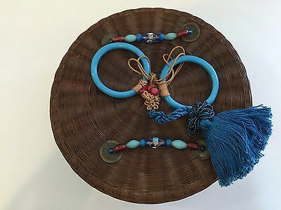 Rare Vintage Chinese Bamboo Sewing Basket Box With Jade & Tassel Pendant, Signed