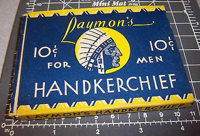 VINTAGE Laymons Handkerchief empty box 1940's, great graphics & colors, Chief