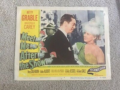 Movie Lobby Card 1951 Betty Grable  McDonald Carey In Meet Me After The Show