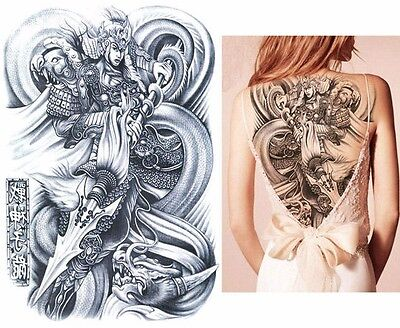 Big Large Full Back Chest Japanese Warrior Tattoo Temporary Sticker Body Art