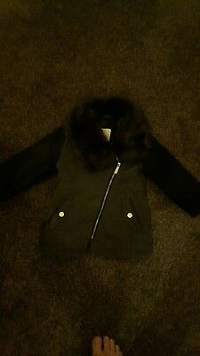 Black and dark green kids/girls coat. Brown fur collar. 18-24 months. Good...