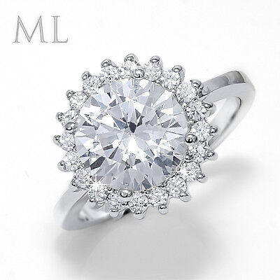 Womens 4.0 CT Engagement Promise RING Bridal Fashion White Gold Plated Size 6-9