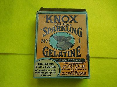 Unopened box Knox Sparkling Gelatin No. 1 cow pictured on front