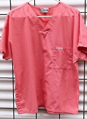 Medical Scrub Top, Cherokee Solid Coral V Neck Pullover, Size S FREE SHIP!
