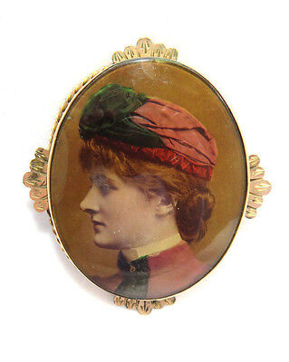 Antique Victorian Mourning Pin / Brooch / Cameo ~ Tinted Photograph on Plaster