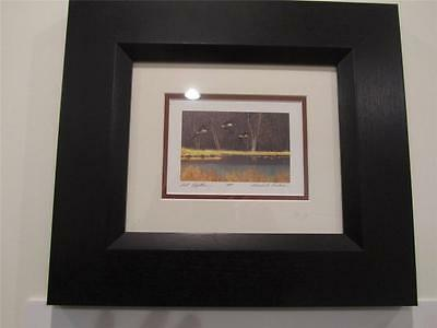 """Gerald Lubeck Limited Edition """"Get Together""""  Framed Geese Over water"""