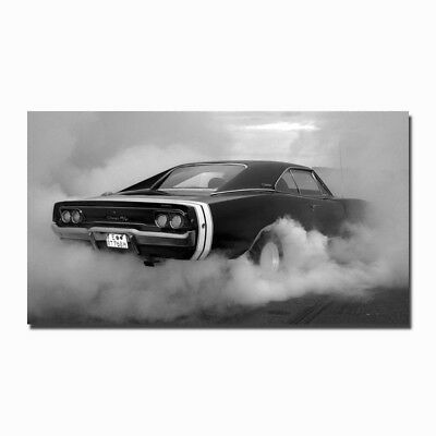 Dodge Charger RT BW Muscle Car Auto Art Silk Wall Poster 13x24 24x43 inch