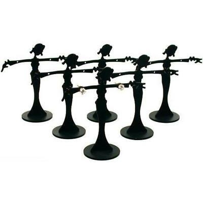 "6 Earring Display Stands Jewelry Showcase Black Fixture 2 3/8"" x 2 1/2"""