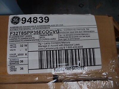 New Ge Fluorescent Light Bulbs (1) Case Box Of 36 F32T8Spp35Ecocvg 94839