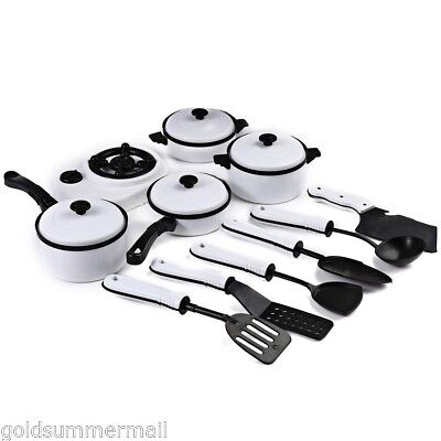 11Pcs Simulation Kitchen Cookware Tool Pretend Role Play Toy Kids Children White