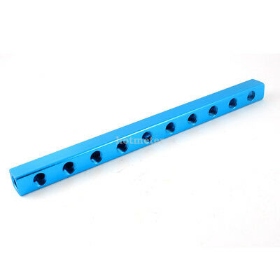 "Blue Aluminium Air Pneumatic 10 Way 13 Port Manifold Block Splitter 1/4""PT"