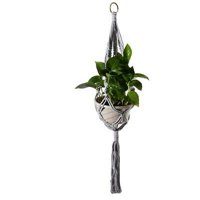 Grey Plant Hanger Flowerpot Hanging Holder Macrame Basket Home Decoration
