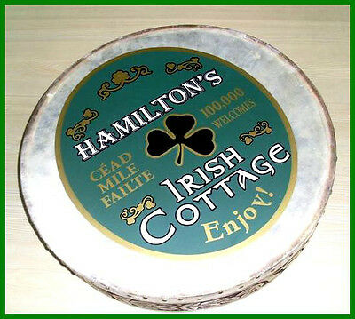 """CP Brand New Bodhran Size 18"""" Hand Carved Natural Brown, Printed Name HAMILTON"""