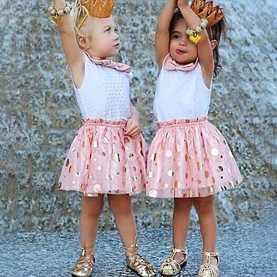 Baby Girls Princess Dress Pleated Bowknot Toddler Party Tutu Skirt Sundress 1-6Y