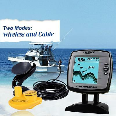 LUCKY Wired / Wireless 2-in-1 Fish Finder Sounder Sensor Transducer100m B8Q9