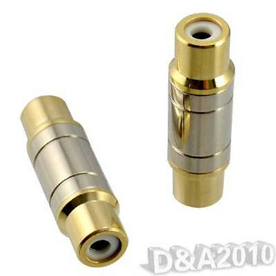 F-F 1 RCA Gold Plated AV Cable Joiner Coupler Component Adapter Connector Met