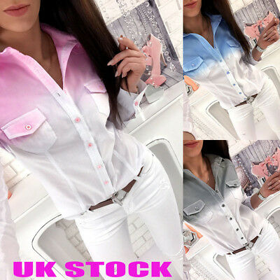 UK Womens Gradient Shirts Ladies Button Down Pocket Casual Loose Tops Blouses