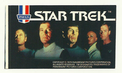 1979 Aust Star Trek Tmp Movie Major Cast Ice Cream Sticker Mint Unused Psa It!