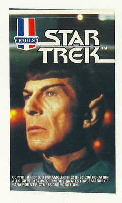 1979 Aust Star Trek Tmp Leonard Nimoy Mr Spock Ice Cream Sticker Mint Unused Psa