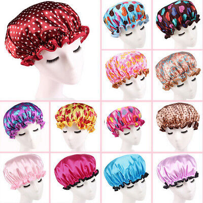 Women Shower Caps Colorful Bath Shower Hat Hair Cover Adults Waterproof Bathing