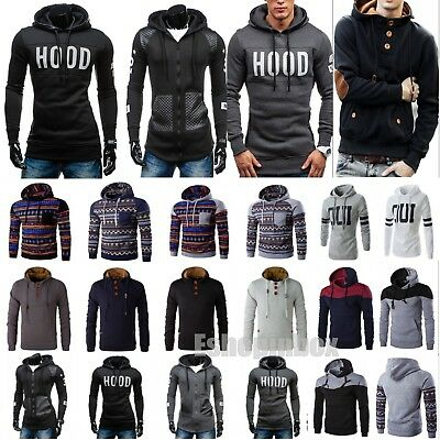 Men's Winter Hoodie Hooded Sweatshirt Pullover Jacket Coat Outwear Sweater New