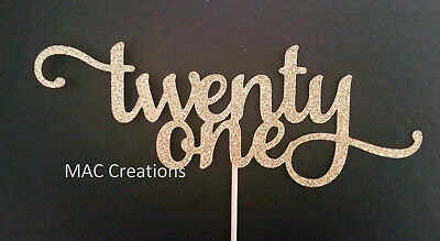 Glitter 'Twenty One' Cake Topper - 21st - Number Birthday Cake Topper 300GSM