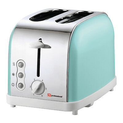 Light Green Toaster 900W Modern Style two slice fast toast, reheat and defrost