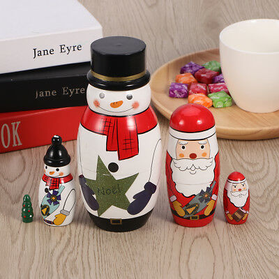 5pcs Russian Nesting Dolls Kids Students Christmas Santa Snowman Matryoshka Gift