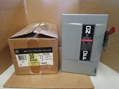 GE Spec-Setter Fusible Safety Switch TG4321 30 A AMP 3P 3 Pole 4W 120/240VAC NEW