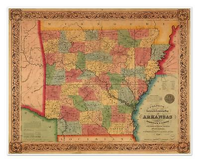 Colton's old railroad & township state map of ARKANSAS circ 1854 24x30