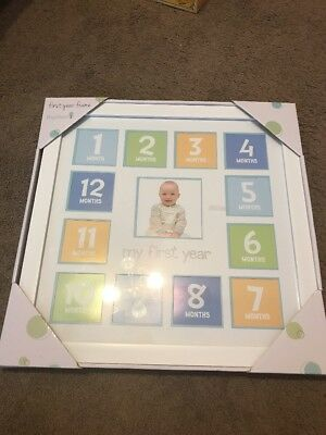 My First Year Baby Pewter Photo Picture Collage Frame Shower Gift 12 Months