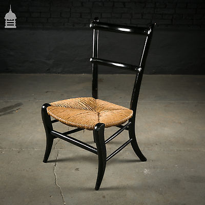Ebonised Hardwood Chair with Rush Seat