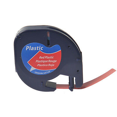 1PK Plastic Tape for DYMO Letra Tag Plus LT100H LT91333 12mm Black on Red Label