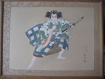 Japanese Samurai Original Painting On Silk W/wooden Framed, Signed By 觀風