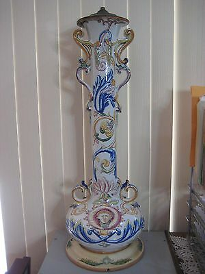 """Large Hand Painted France Majolica Pottery Vase Lamp, Marked """"SC"""", 30"""" Tall"""