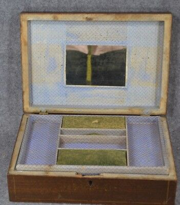 sewing box wooden antique Victorian wall paper mirror compartment very good 1800