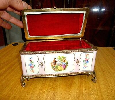ANTIQUE PINK PORCELAIN and BRONZE JEWELRY MUSIC BOX CASKET SEVRES LIMOGES STYLE