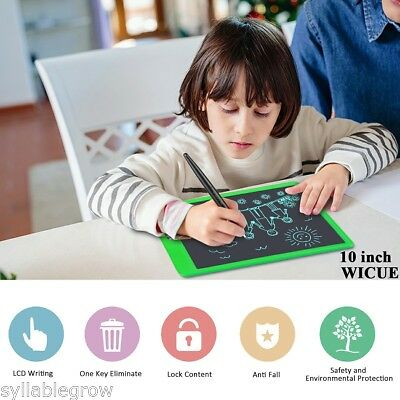 """10"""" Electronic Drawing LCD Writing Pad Notepad Graphics Board Tablet + Pen Green"""