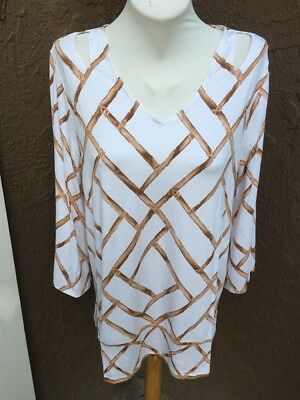 1c33a619404 New Chico's Tan White Brown Amazon Bamboo Print Top Shirt 2 = L Large 12 14