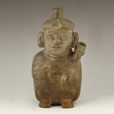 Pre-Columbian Stirrup Vessel Moche Culture Peru South America 100-800 Ad