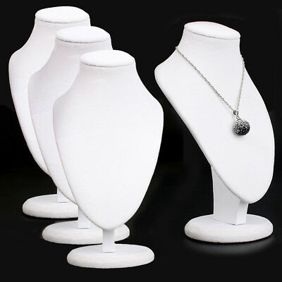4pcs Jewellery Necklace Chain Display Bust Velvet White Holder Stand Retail Shop