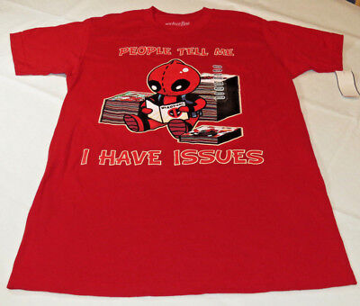 We Love Fine Marvel Deadpool M t shirt People tell me I have Issues Cardinal Red