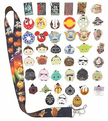 Star Wars Themed Starter Lanyard Set with 5 Disney Park Trading Pins ~ NEW
