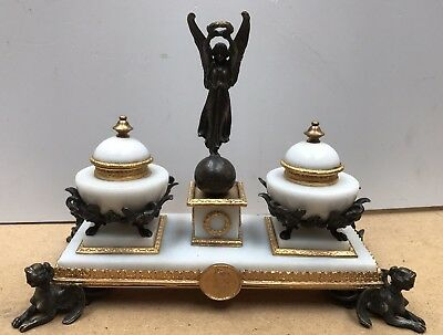 French Empire Style Marble & Ormolu Desk Ink Stand. Open To Offers.