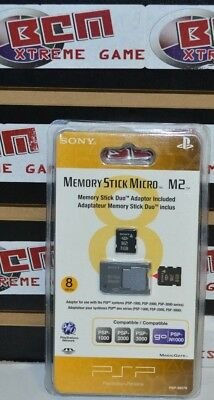 8GB Memory Stick Micro Media + M2 Duo Adaptor - Sony PSP 1000 2000 3000 PSPGo