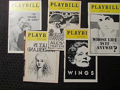 PLAYBILL Magazine LOT of 5 Who's Life / Wings / All's Well / Alice in Wonderland