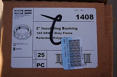 """Lot of (25 ea) - Raco 1408 2"""" Electrical, Plastic, Gray, Insulating bushing"""