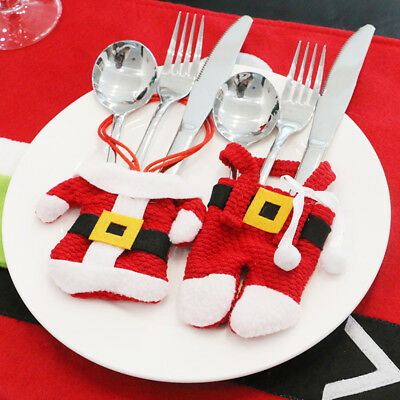 Christmas Decoration Santa Cutlery Holder Bag Cover Dinner Table Xmas Decor