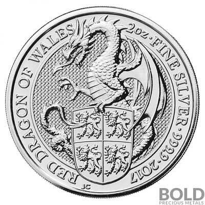 2017 Silver Great Britain Queen's Beasts (The Red Dragon) - 2 oz