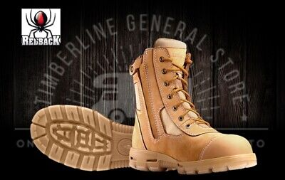Redback Kingaroy Lace Up / Zipup Side Safely Work Boots Wheat Nubuck Scuffcap Al
